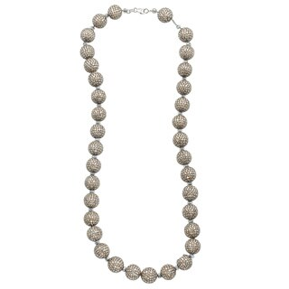 14k White Gold 35ct TDW Pave Diamonds Ball Estate Necklace (SI1,SI2)