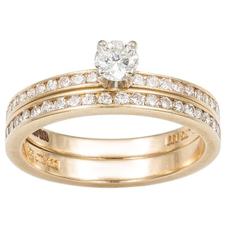 14k Yellow Gold 3/4ct TDW Round-cut Diamond Bridal Set (G-H, SI1-SI2)