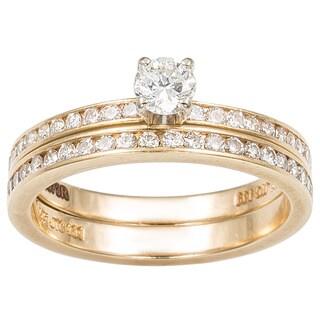 14k Yellow Gold 3/4ct TDW Round-cut Diamond Bridal Set (G-H, SI1-SI2)
