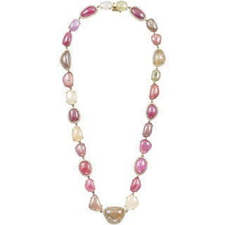 18k Yellow Gold 2 1/2ct TDW Diamond and Multicolor Freeform Tourmalines Necklace (H-I, SI1-SI2)