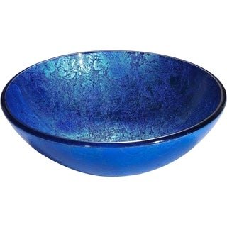 Y-Decor Divant Royal Rich Deep Blue Round Tempered Glass Vessel Basin with Polished Interior and Textured Exterior Vessel Sink