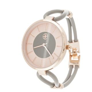 Slim Fortune NYC Ladies Rosetone Case with Grey Rubber Strap Watch