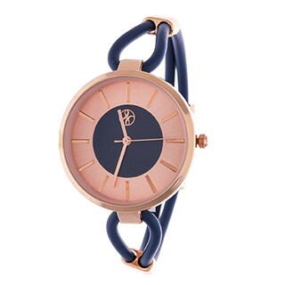 Fortune NYC Slim Ladies Rosetone Case with Navy Blue Rubber Strap Watch