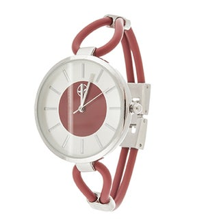 Fortune NYC Slim Ladies Silvertone Case with Red Rubber Strap Watch