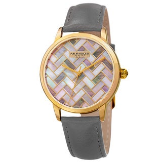 Akribos XXIV Women's Gray and Goldtone Leather Strap Simplistic Fashion Watch