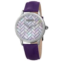 Akribos XXIV Women's Purple Leather Simplistic Fashion Watch with FREE Bangle