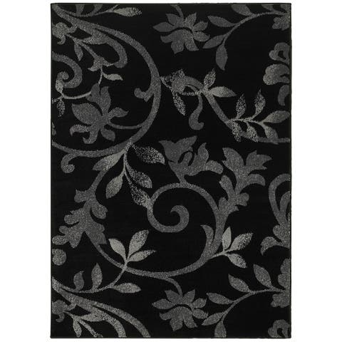 "LR Home Grace Vines Black Indoor Area Rug ( 3'7"" x 5'6"" ) - 3'7"" x 5'6"""