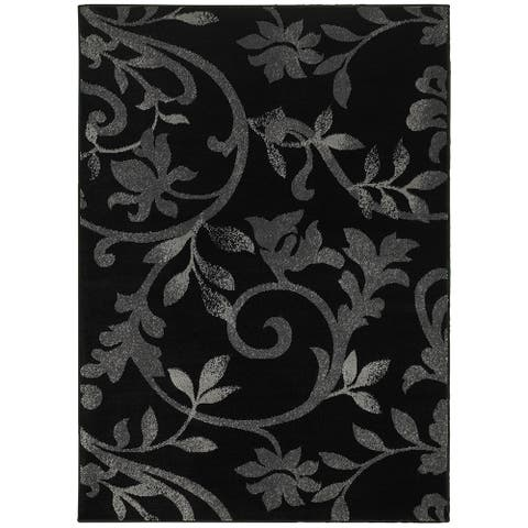 "LR Home Grace Vines Black Indoor Area Rug ( 5'2"" x 7'2"" ) - 5'2 X 7'2"