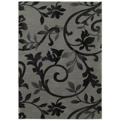 "LR Home Grace Vines Gray Indoor Area Rug ( 5'2"" x 7'2"" ) - 5'2"" x 7'2"""