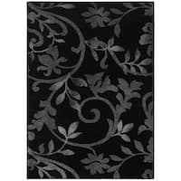 "LR Home Grace Vines Black Indoor Area Rug ( 7'9"" x 9'5"" ) - 7'9 x 9'6"