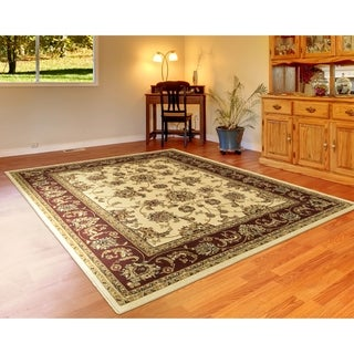 "LNR Home Grace LR81135 Ivory/Red Plush Indoor Area Rug 7'9"" x 9'5"" - 7'9 x 9'6"