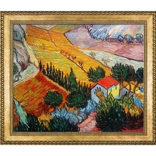 Vincent Van Gogh 'Landscape with House and Ploughman, 1889' Hand Painted Framed Canvas Art