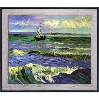 Vincent Van Gogh 'Seascape at Saintes Maries' Hand Painted Framed Canvas Art