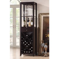 Espresso Wood Wine Tower Cabinet