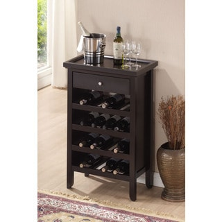 Espresso Wood Wine Cabinet with Serving Tray