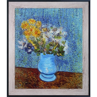 Vincent Van Gogh 'Vase with Lilacs, Daisies and Anemones' Hand Painted Framed Canvas Art