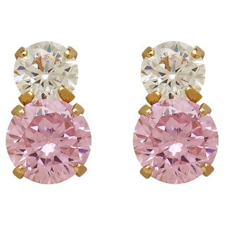 14k Yellow Gold Children's White and Pink Birthstone Cubic Zirconia Earrings