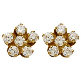 14k Yellow Gold Children's Cubic Zirconia Flower Stud Earrings