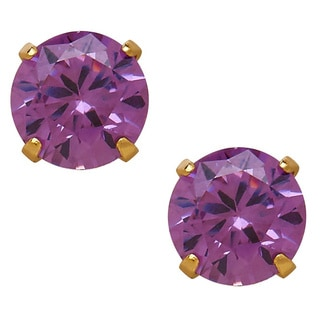14k Yellow Gold Children's Purple Cubic Zirconia 4mm Stud Earrings
