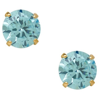 14k Gold Children's Blue Cubic Zirconia March Stud Earrings