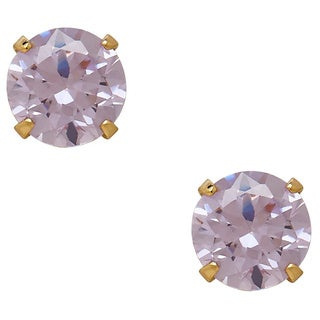 14k Yellow Gold Children's Light Purple Cubic Zirconia Stud Earrings