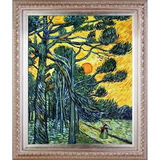 Vincent Van Gogh 'Pine Trees against a Red Sky' Hand Painted Framed Canvas Art