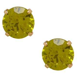 14k Yellow Gold Children's Cubic Zirconia August 4mm Stud Earrings
