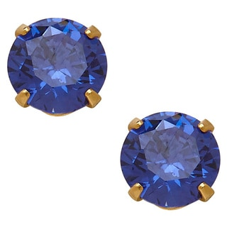 14k Yellow Gold Children's Cubic Zirconia September Stud Earrings