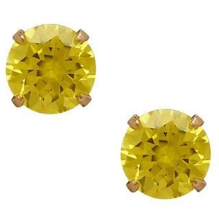 14k Yellow Gold Children's Yellow Cubic Zirconia 'November' Stud Earrings