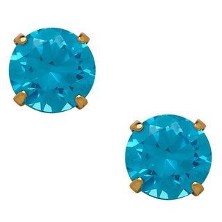 14k Gold Children's Blue Cubic Zirconia 'December' Stud Earrings