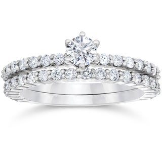 14k White Gold 1ct TDW Diamond Engagement Wedding Ring Set (I-J,I2-I3)
