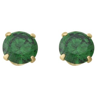 14k Yellow Gold Children's Green Cubic Zirconia Stud Earrings