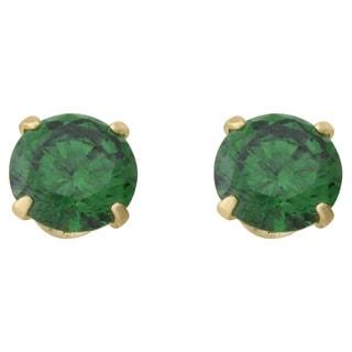 14k Yellow Gold Children's Green Cubic Zirconia Stud Earrings
