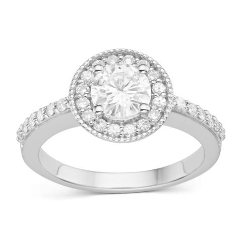 Charles & Colvard Sterling Silver 1.08ct TGW Forever Classic Moissanite Round Halo Ring