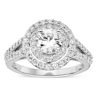 Charles & Colvard Sterling Silver 1 21/50ct TGW Forever Classic Moissanite Double Halo Ring