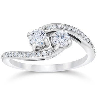 10k White Gold 1/2ct TDW 2-stone Forever Us Diamond Engagement Ring (I-J,I2-I3)