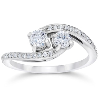 10k White Gold 1/2ct TDW 2-stone Forever Us Diamond Engagement Ring