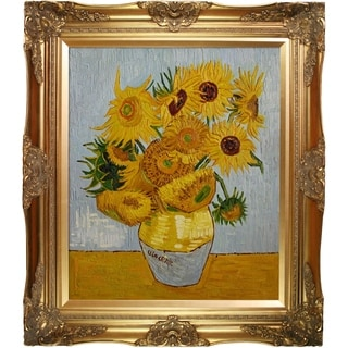 Vincent Van Gogh 'Sunflowers' Hand Painted Framed Canvas Art