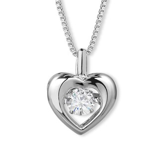 Charles & Colvard Sterling Silver 1/3ct DEW Forever Classic Moissanite in Motion Heart Pendant