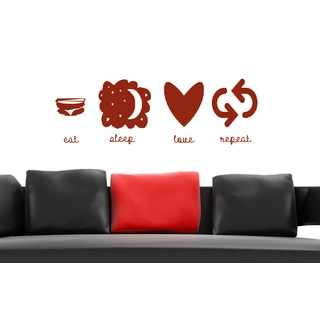 Eat Sleep Love Repeat Wall Art Sticker Decal Red