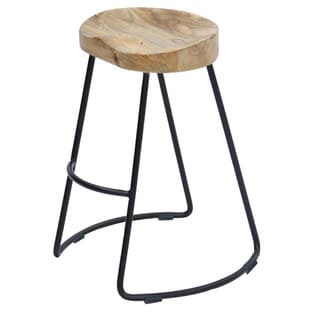 Link to Wooden Saddle Seat Barstool with Metal Legs, Large, Brown and Black Similar Items in Dining Room & Bar Furniture
