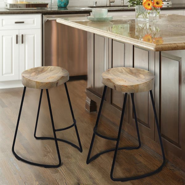 Surprising Shop Wooden Saddle Seat Barstool With Metal Legs Large Gmtry Best Dining Table And Chair Ideas Images Gmtryco