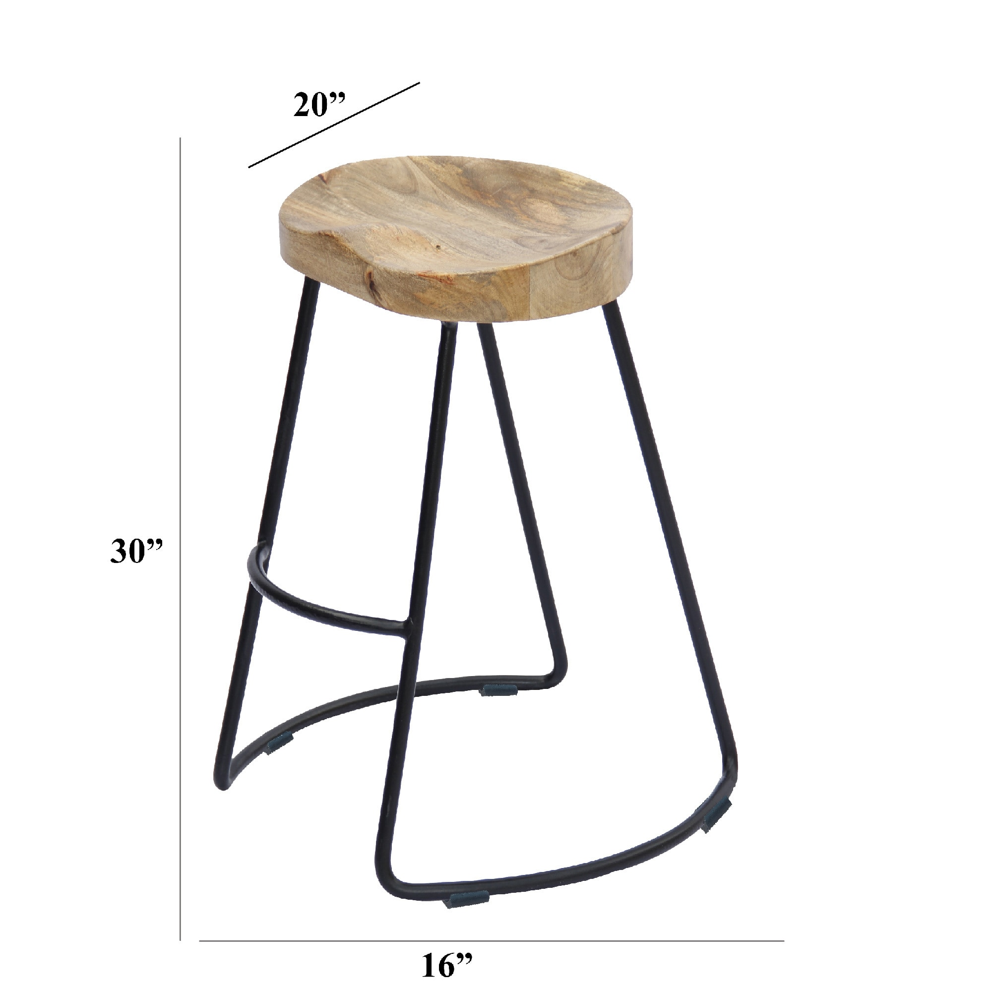 Swell Wooden Saddle Seat Barstool With Metal Legs Large Brown And Black Andrewgaddart Wooden Chair Designs For Living Room Andrewgaddartcom