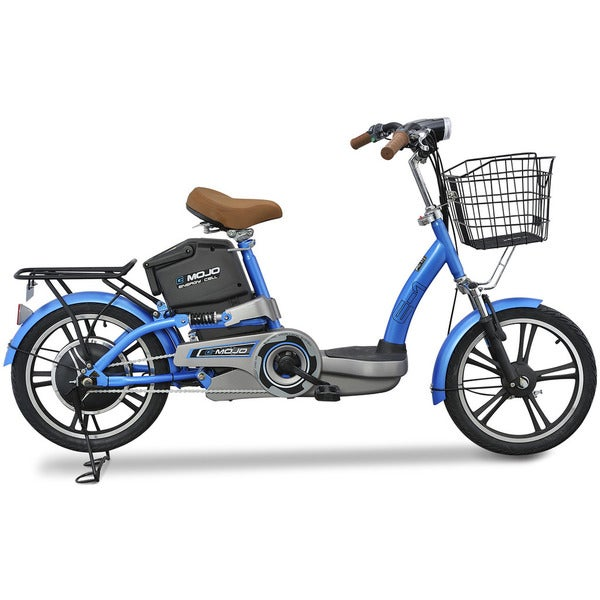 Emojo E1 Blue Deluxe Trim Electric Bicycle with Extended Range Lithuim Battery