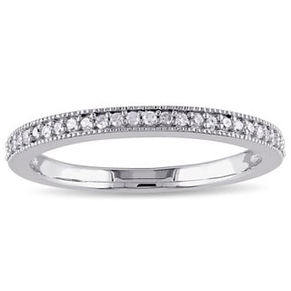Miadora Sterling Silver 1/8ct TDW Diamond Vintage Anniversary Stackable Wedding Band Ring (G-H, I2-I3) Size 9 (As Is Item)