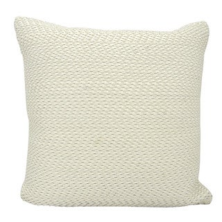 Mina Victory Leather Basket Weave White Throw Pillow by Nourison (20-Inch X 20-Inch)