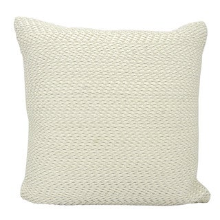 Mina Victory Leather Basket Weave White 20 x 20-inch Throw Pillow by Nourison