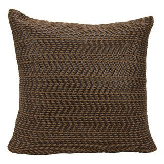 Joseph Abboud Leather Basket Weave Brown Throw Pillow (20-inch x 20-inch) by Nourison