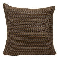 Mina Victory Leather Basket Weave Brown 20 x 20-inch Throw Pillow by Nourison