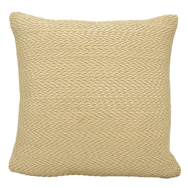 Mina Victory Leather Basket Weave Beige Throw Pillow by Nourison (20-Inch X 20-Inch)